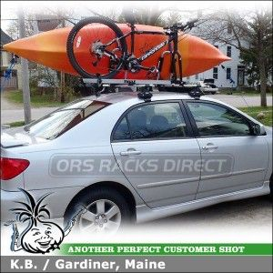 Image Depicts A Complete Premium Top Of The Line Kayak And Bike Roof Rack System Mounted To A 2008 Toyota Corolla S Toyota Corolla Kayak Rack Kayaking