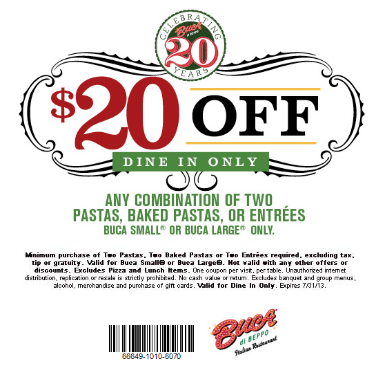 photograph regarding Buca Di Beppo Coupons Printable identified as Pinned July 17th: $20 off a number of entrees at Buca di Beppo