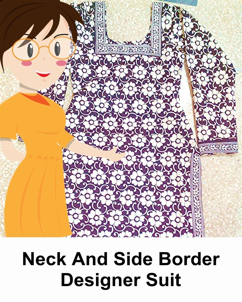 Neck And Side Border Designer Suit - Tailoring With Usha | Things To ...