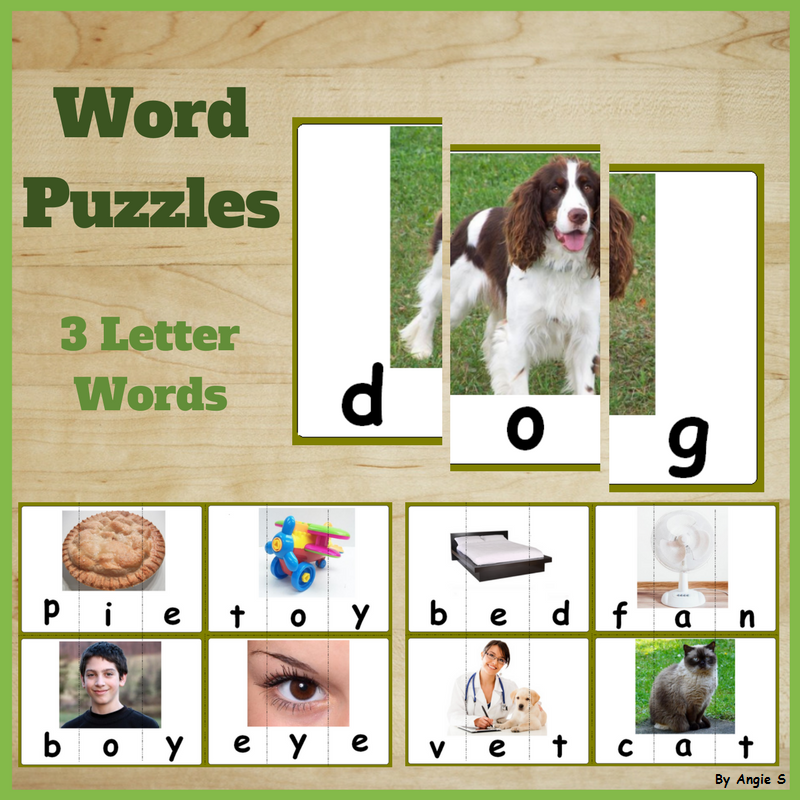 Word Puzzles 3 Letter Words Student Learning Special Education