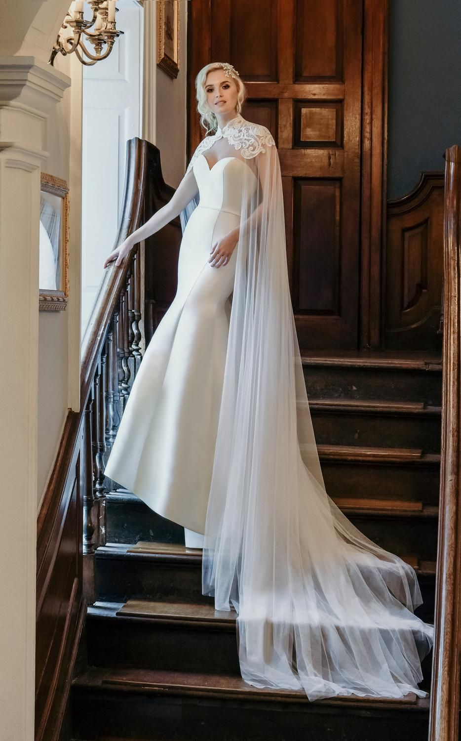 ace78cc5470c Plain strapless fishtail wedding dress with lace and tulle cape ...