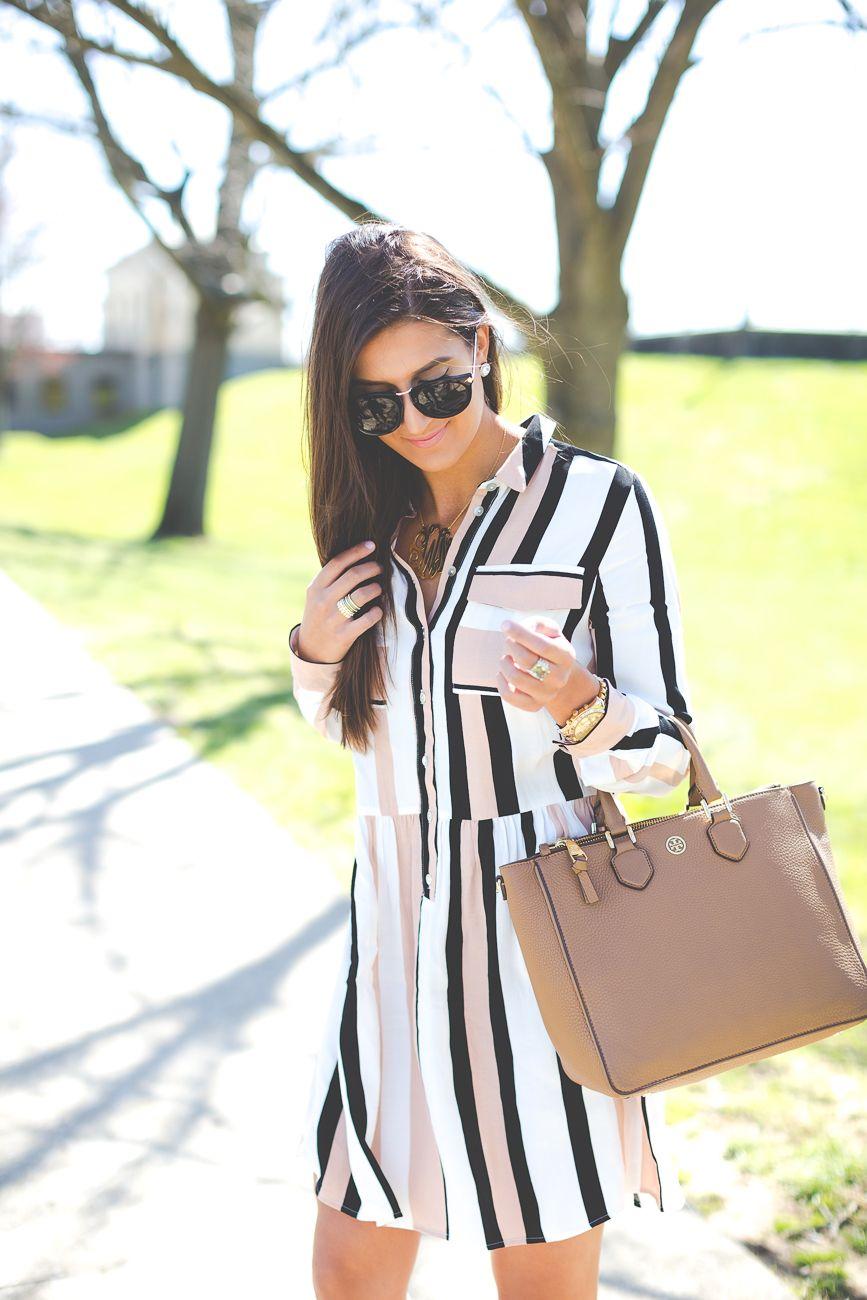 stripe drop waist dress, spring fashion, gold monogram necklace, casual date night outfit, stripe chiffon dress // grace wainwright from @asoutherndrawl