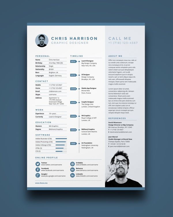 Free Illustrator Photoshop Indesign Resume Template  Cv Et Lm