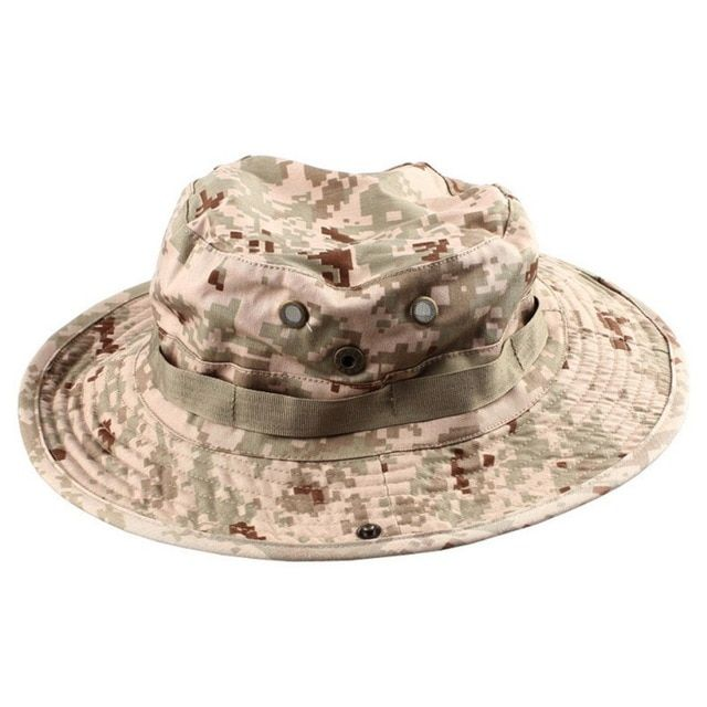 a2f5ceb665aa3 Outdoor Summer Travel Camping Hiking Hat Round Edges Wide Brim Camouflage  Bucket Hat With String Sun