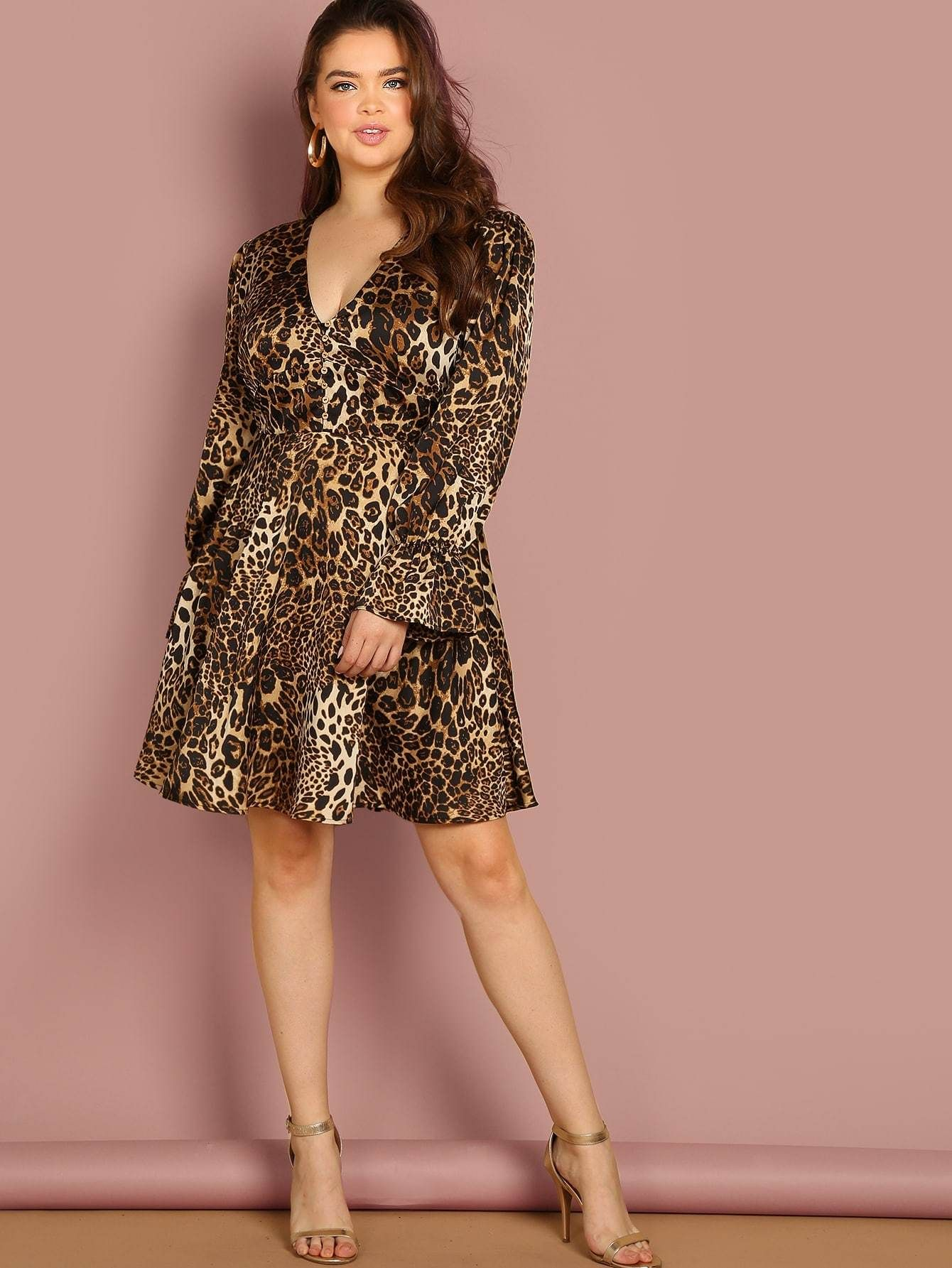 cb67574b0c1 Color  Multicolor Material  Polyester Neckline  V neck Sleeve  Long Sleeve  Dresses  Knee Length Silhouette  Fit and Flare Pattern  Leopard Style   Casual ...