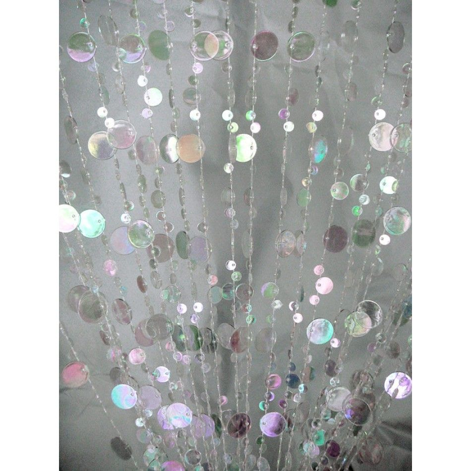 3u0027 X 6u0027 Foot Beaded Curtain Panels   Crystal Iridescent Champagne Bubble  Curtains [