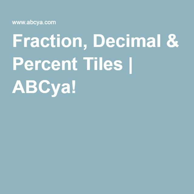 Virtual Manitives Fraction Decimal Percent Tiles Is A Great Way For Students To Explore And Understand How Parts Make Up Whole