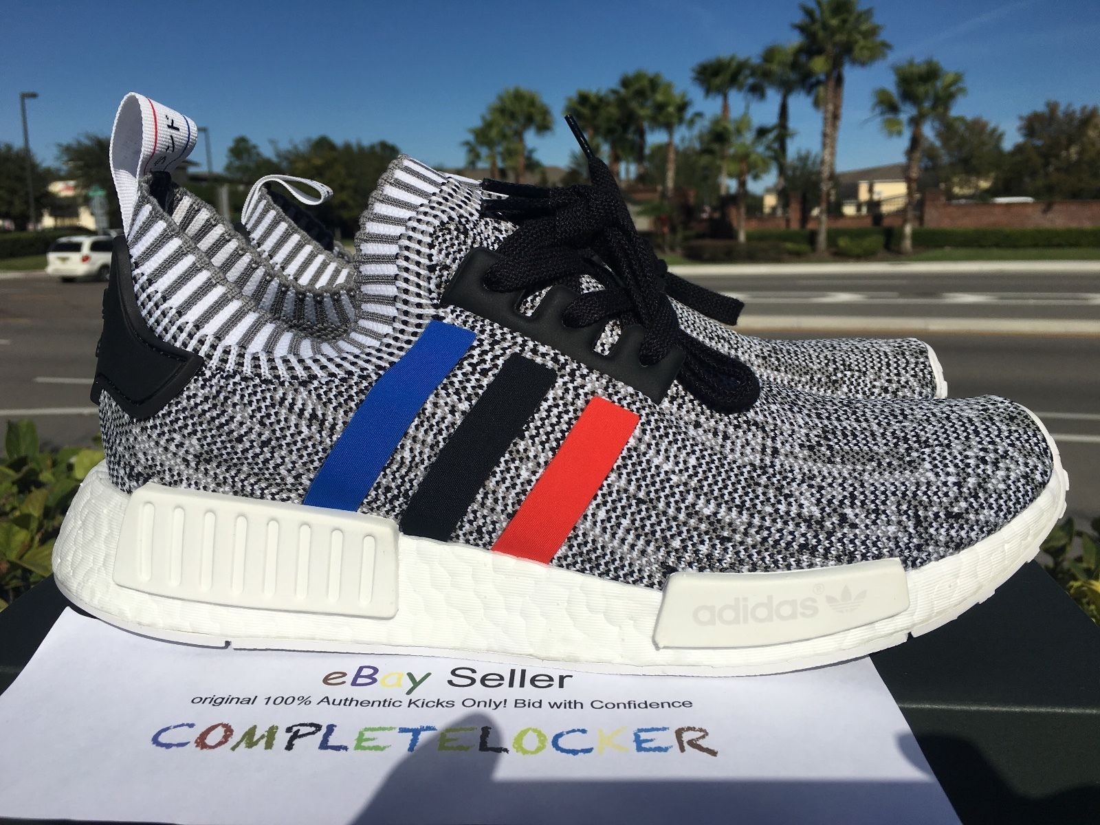 a9d972545 Adidas NMD R1 PK Primeknit BB2888 White Tri Color Mens Running Shoes US SZ 9