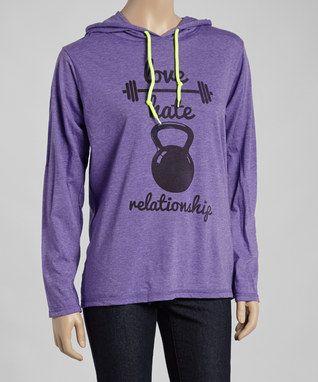 Purple Heather 'Love Hate Relationship' Hooded Tee