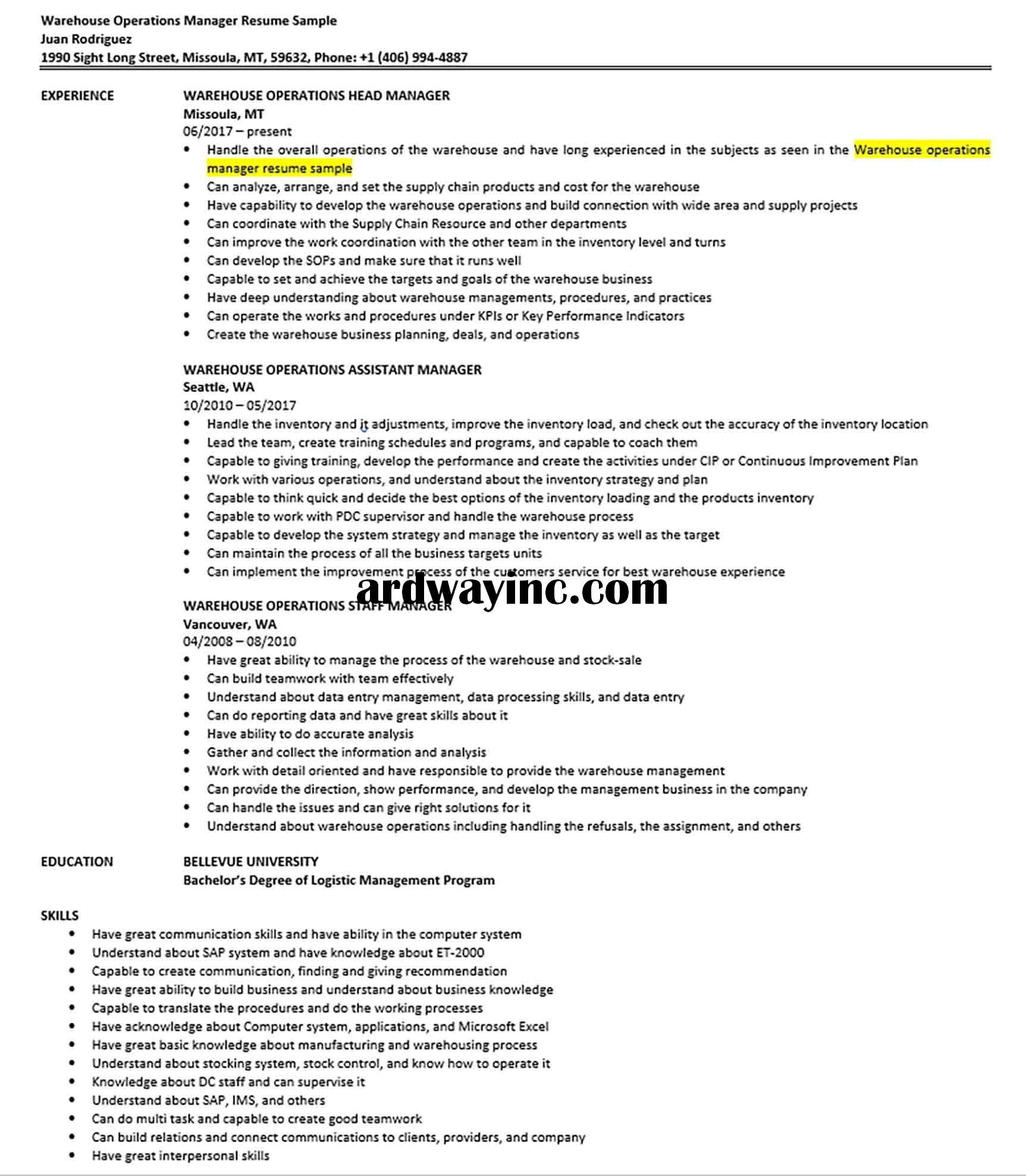 Warehouse Operations Manager Resume Sample Operations Management Manager Resume Resume