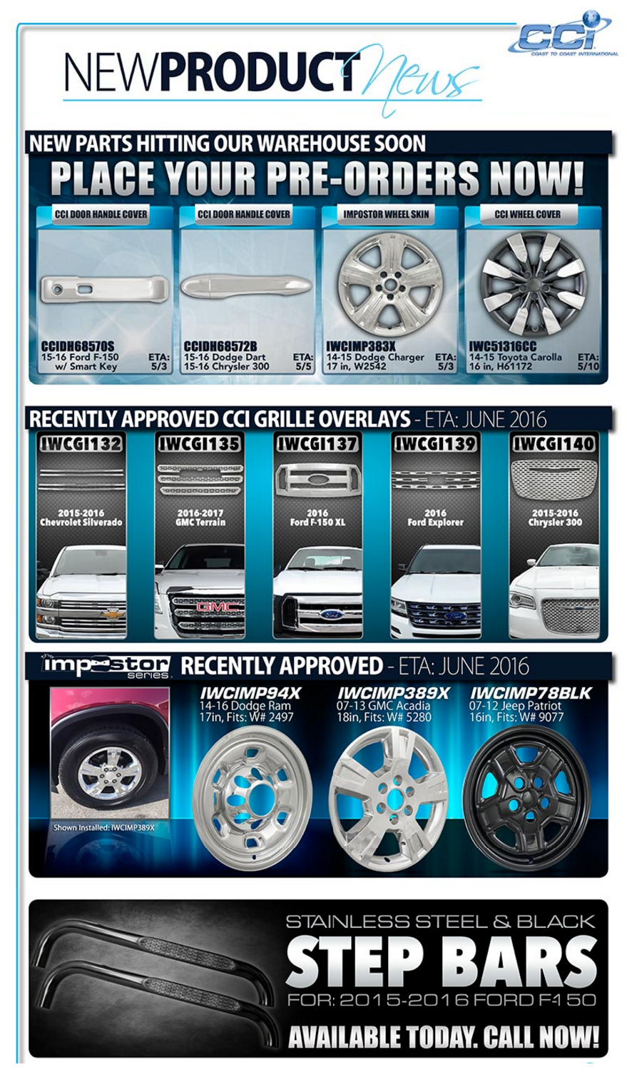 New parts hitting our warehouse soon! Place your Pre-orders now!
