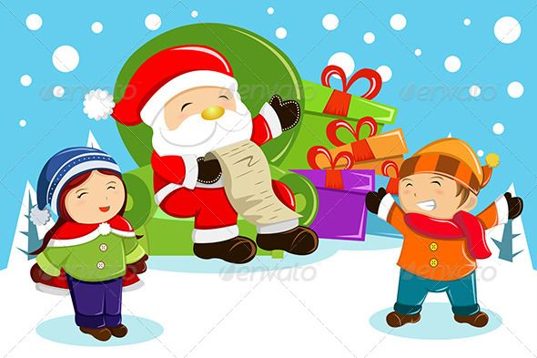 Santa Claus Carrying Present Bags ... adult, boy, cartoon ...