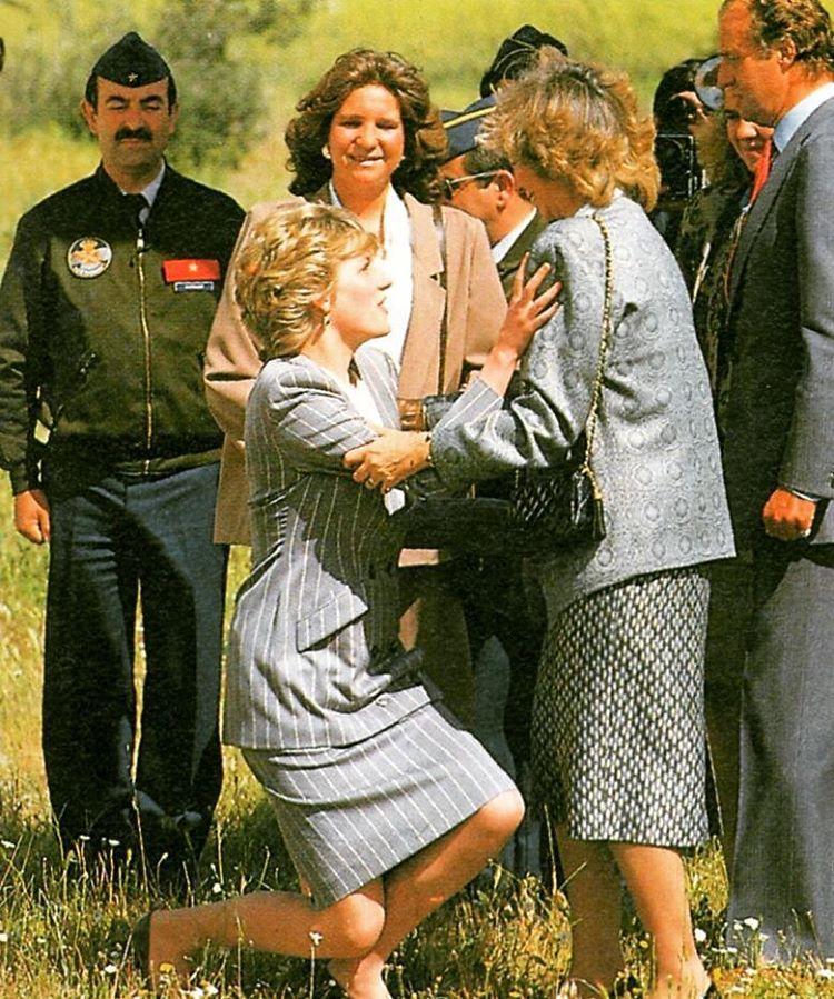 24 April 1987 Princess Diana und Knigin Sofia und Knig Juan Carlos und Elena von Spanien