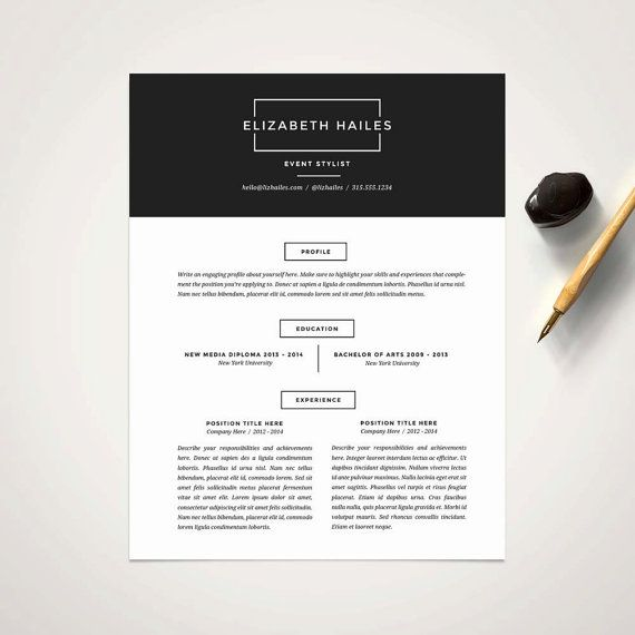 Modern Resume Template and Cover Letter Template for Word DIY - example cover letter resume