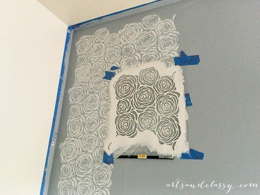 Painting A DIY Kitchen Accent Wall Using The Roses Allover Stencil In Gray.  Http:
