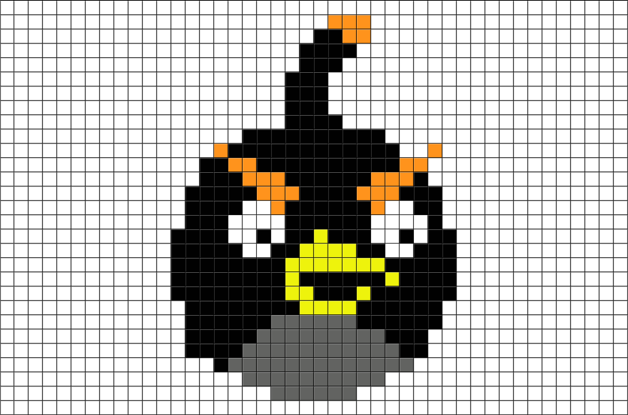 angry birds bomb pixel art angry birds pixel art pixel art templates angry birds. Black Bedroom Furniture Sets. Home Design Ideas