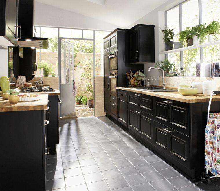 cucina-colore-nero-mobili-legno-cappa-piantine-pavimento ...