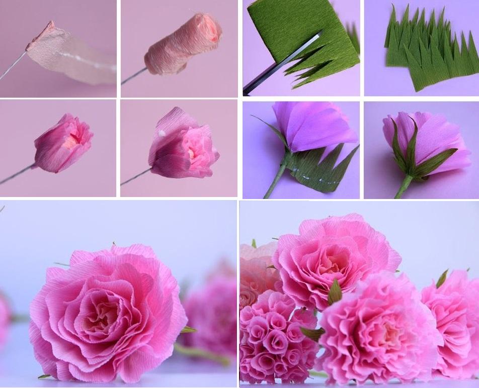 Маленькие цветы из гофрированной бумаги для открытки