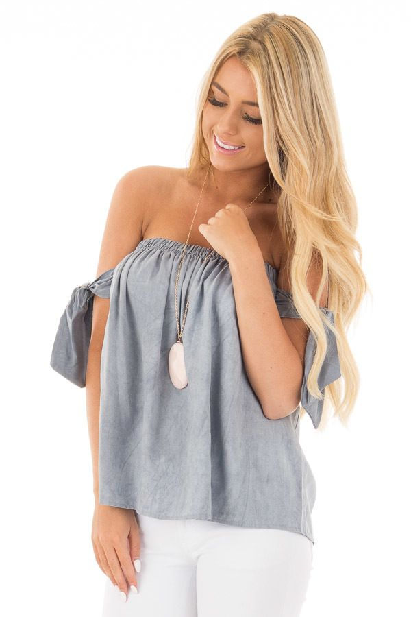 45e79b6469 Chambray Off the Shoulder Top with Tie Sleeve