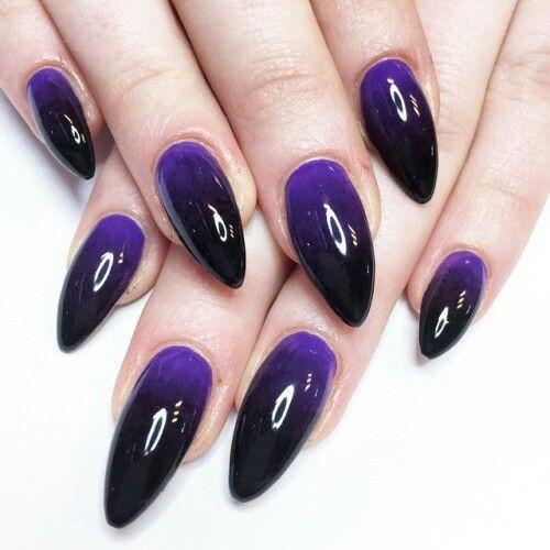 Purple And Black Stiletto Ombre Nails Purple Ombre Nails Black And Purple Nails Dark Purple Nails