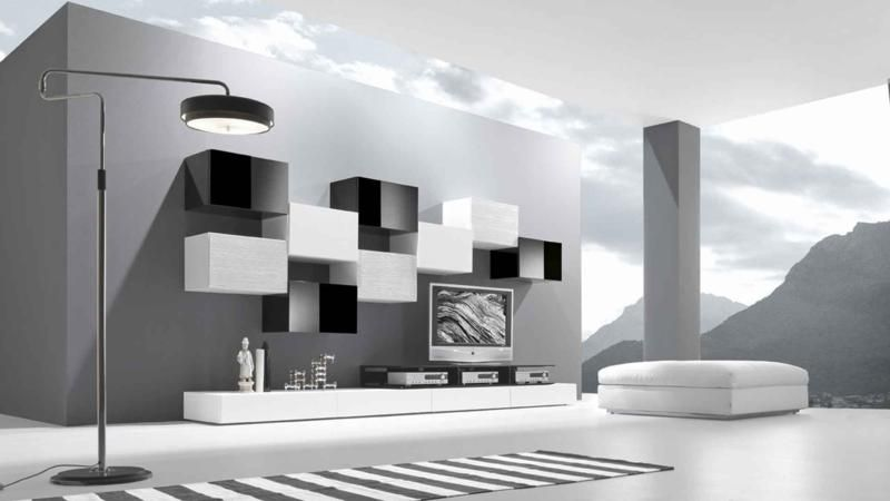 black and white modern modular living room furniture design | tv