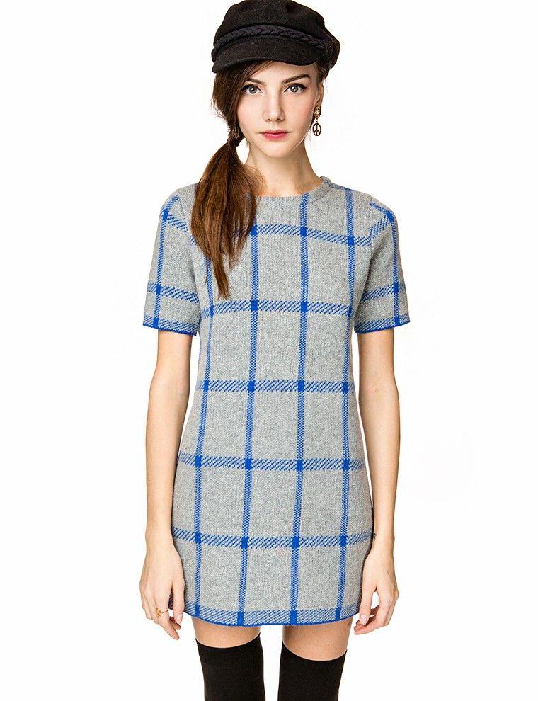 Plaid Sweater Dress - Shift Grid Dress - Cute Knit Dress -$59