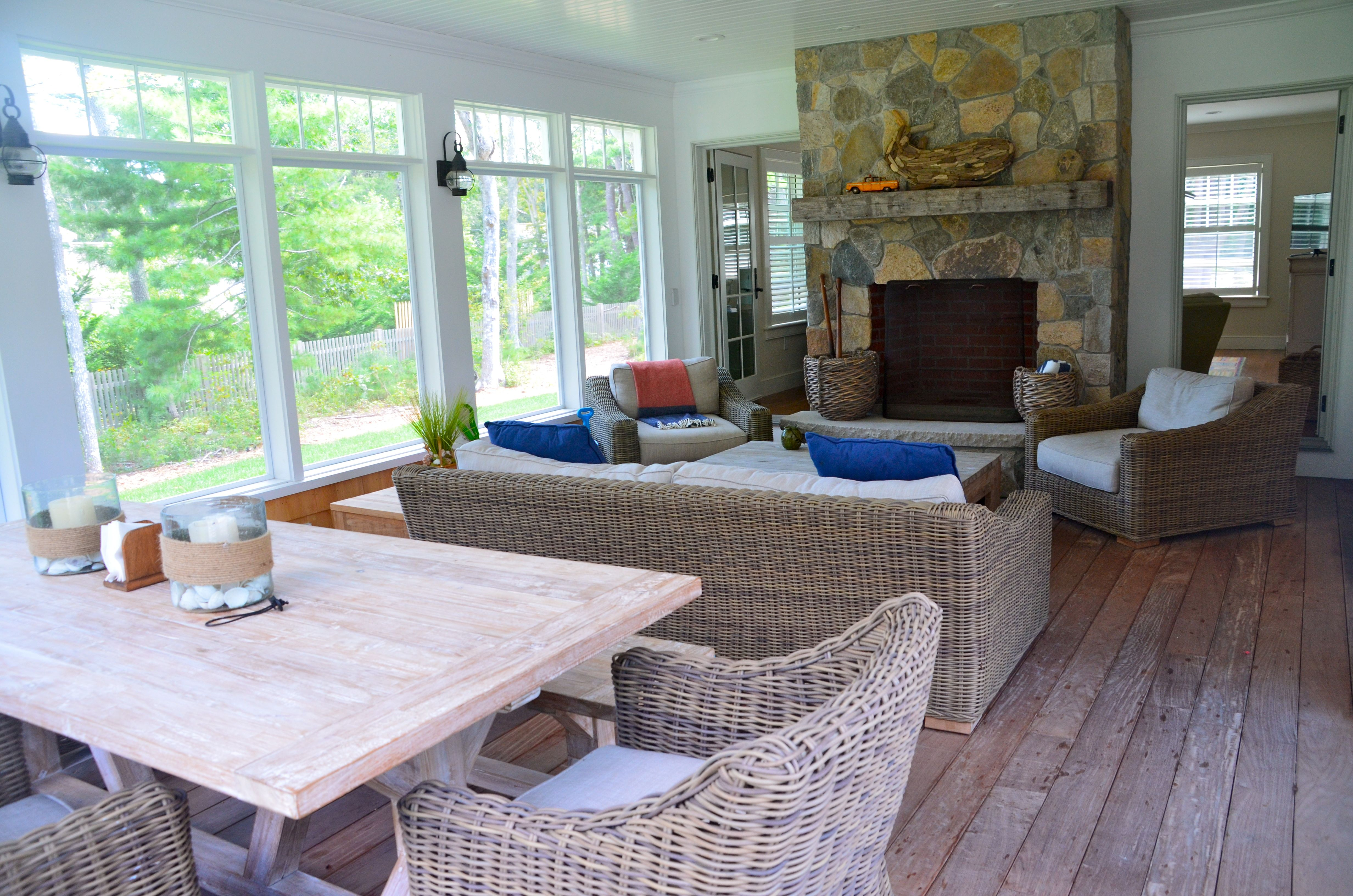 Shingle Style Home Screened In Porch Porch Fireplace