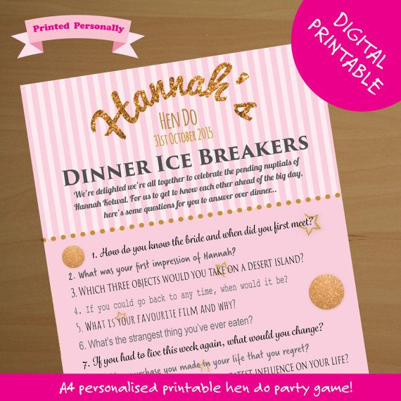 Personalised Hen Party Game Ice Breaker Game By