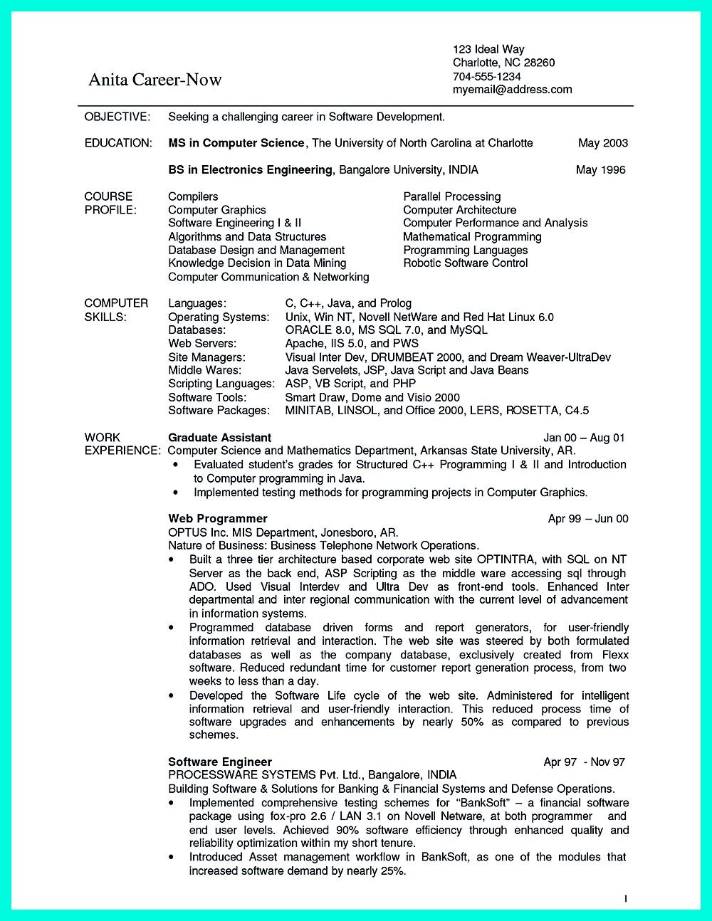 What You Will Include In The Computer Science Resume Depends On The Training As Well As The Previous Resume Objective Examples Science Student Computer Science