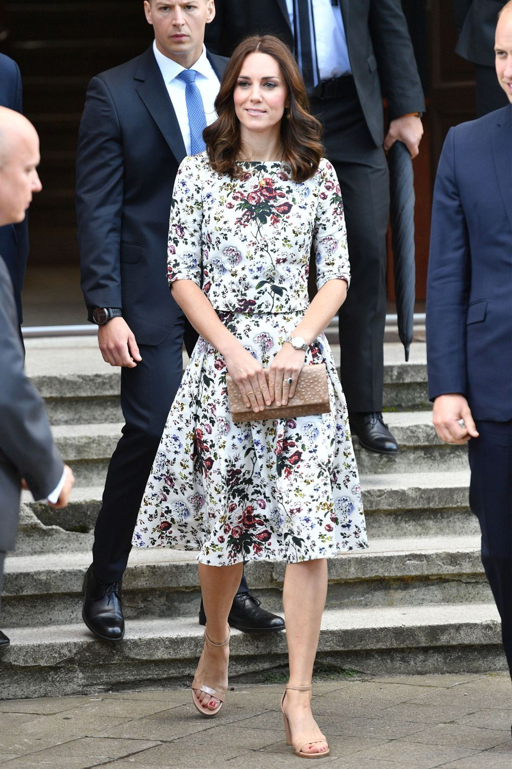 On day two of the royal tour in Poland, she wore a floral Erdem dress to meet Holocaust survivors at a former Nazi concentration camp in Gdansk.