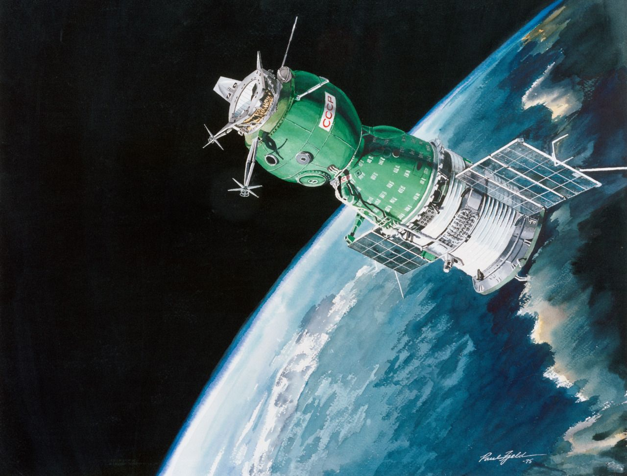 humanoidhistory: 1975 NASA concept art shows a Soviet spacecraft in Earth orbit during the Apollo
