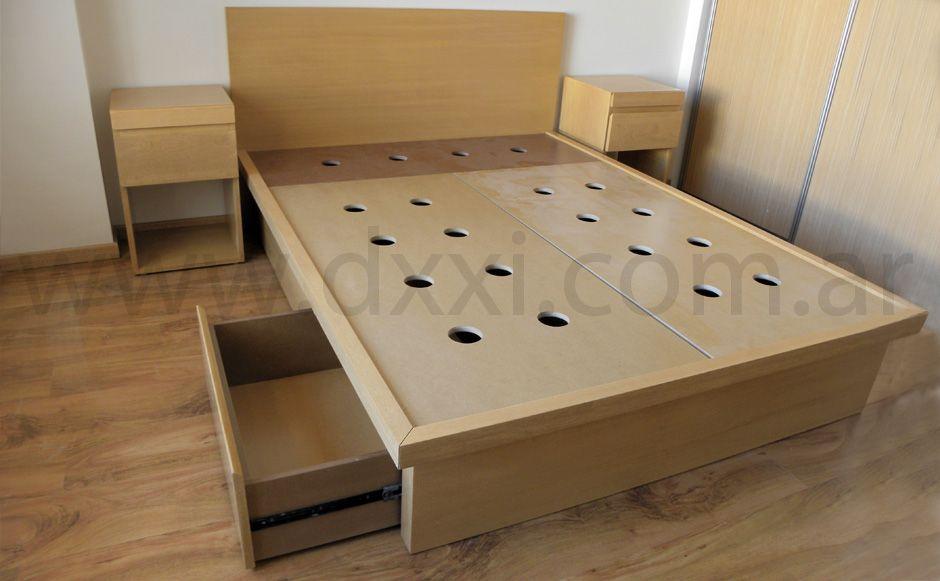 Cama con cajones enchapada 01 muebles pinterest cama for Sillon cama con cajones