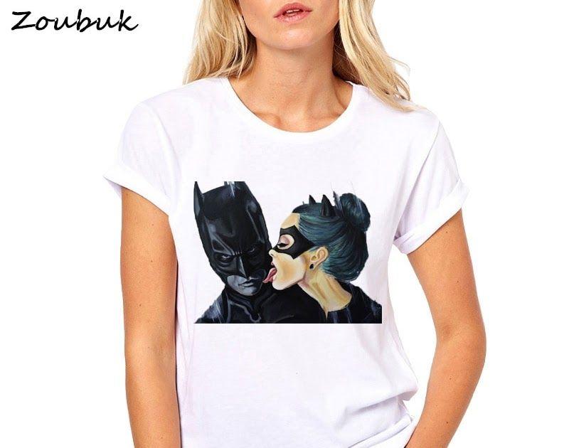 1f29c98a60 Big SALE 2018 Summer Tops Anime Cartoon Batman and Catwoman T Shirt Women  Cool Tee Female
