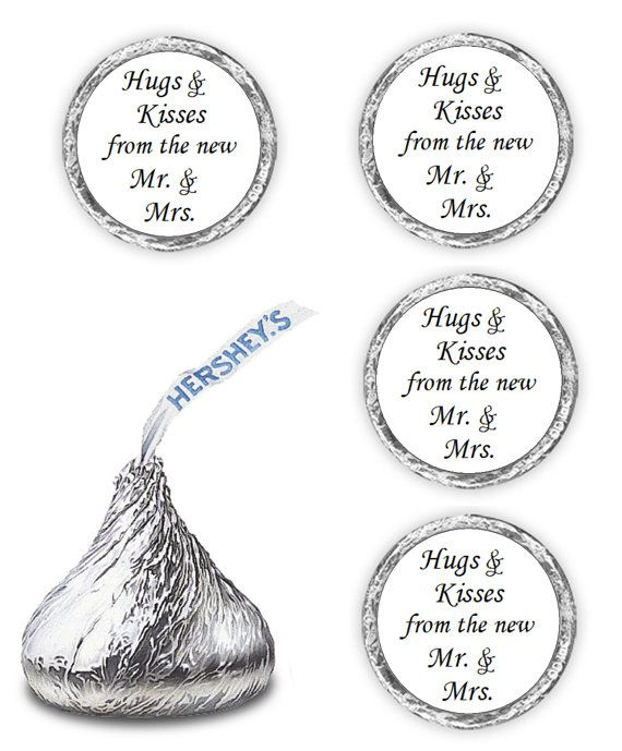 """Hugs & Kisses from the new Mr. & Mrs. for Hershey Kisses  Wedding Stickers Favors  can also be used as envelope seals  (CANDY NOT INCLUDED)   Make your celebration, a real treat with a one of a kind affordable favor; these are 0.75"""" round self-adhesive stickers.   They are perfect for Hersheys Kisses, the top of Reeses Miniatures, or putting on the back of your invitation as seal.  Orders will be shipped next day first class mail, for all payments received before 5:00 PM EST. I ship v..."""