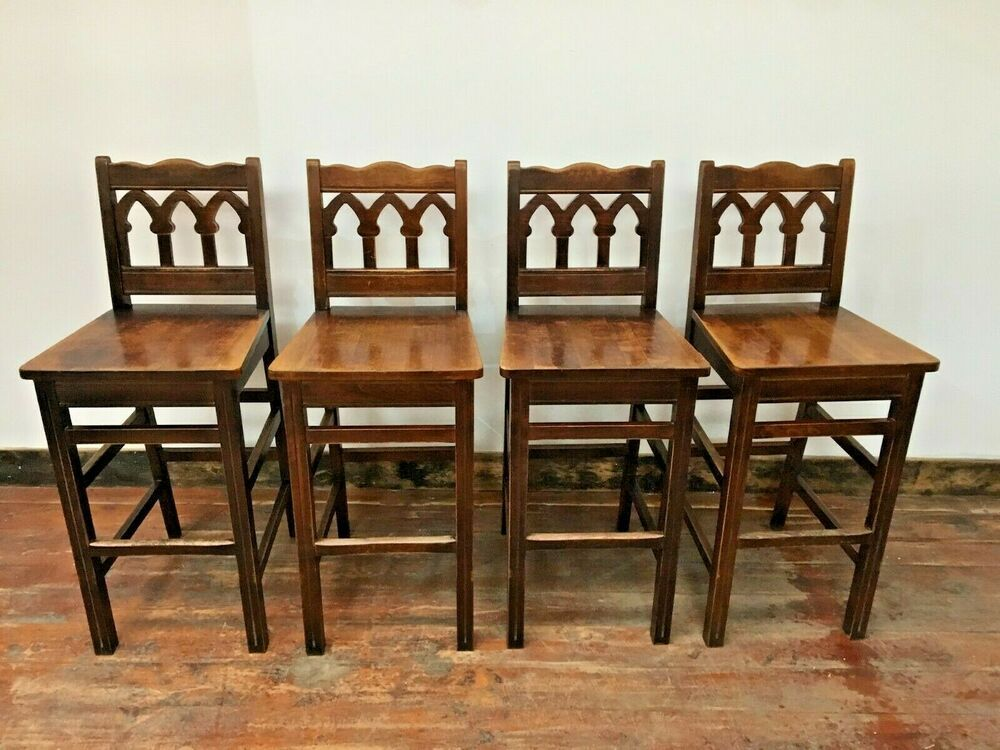 Incredible Set Of X 4 Solid Wood Bar Stools Ornate Backs Tall Short Links Chair Design For Home Short Linksinfo