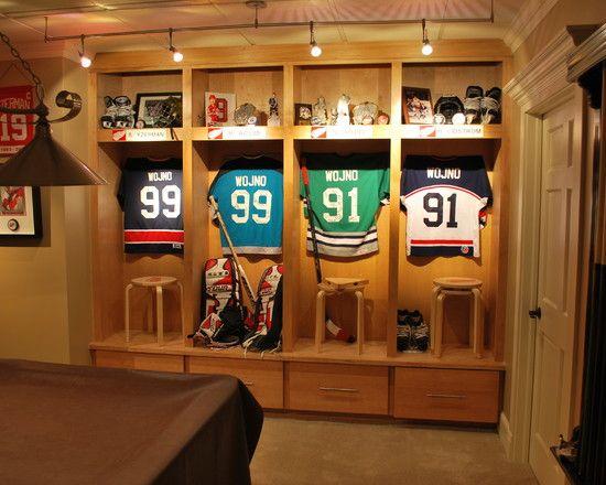 family room sports memorabilia design pictures remodel decor and ideas sports memorabilia. Black Bedroom Furniture Sets. Home Design Ideas