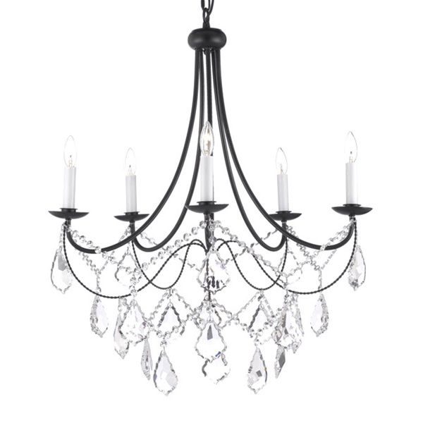 Versailles 5 Light Wrought Iron And Crystal Chandelier Ping Great Deals On Gallery Chandeliers Pendants