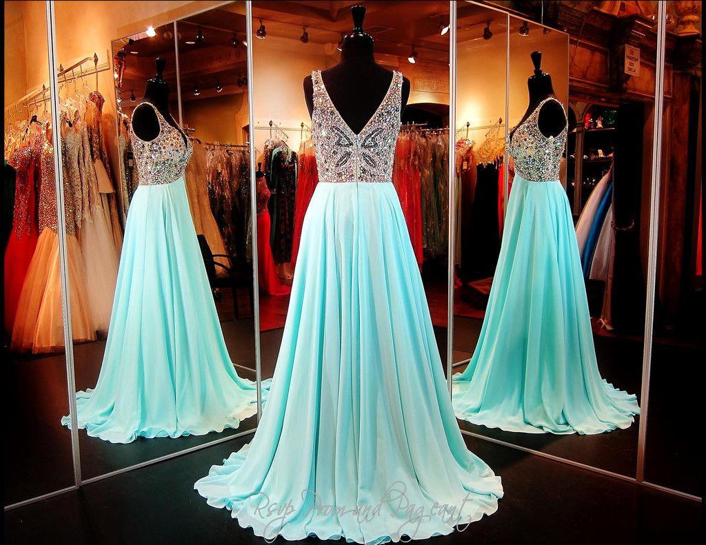Aqua Flowing Elegant Prom Dress 115ec0151630412 Elegant Prom Dresses Cute Prom Dresses Prom Dresses