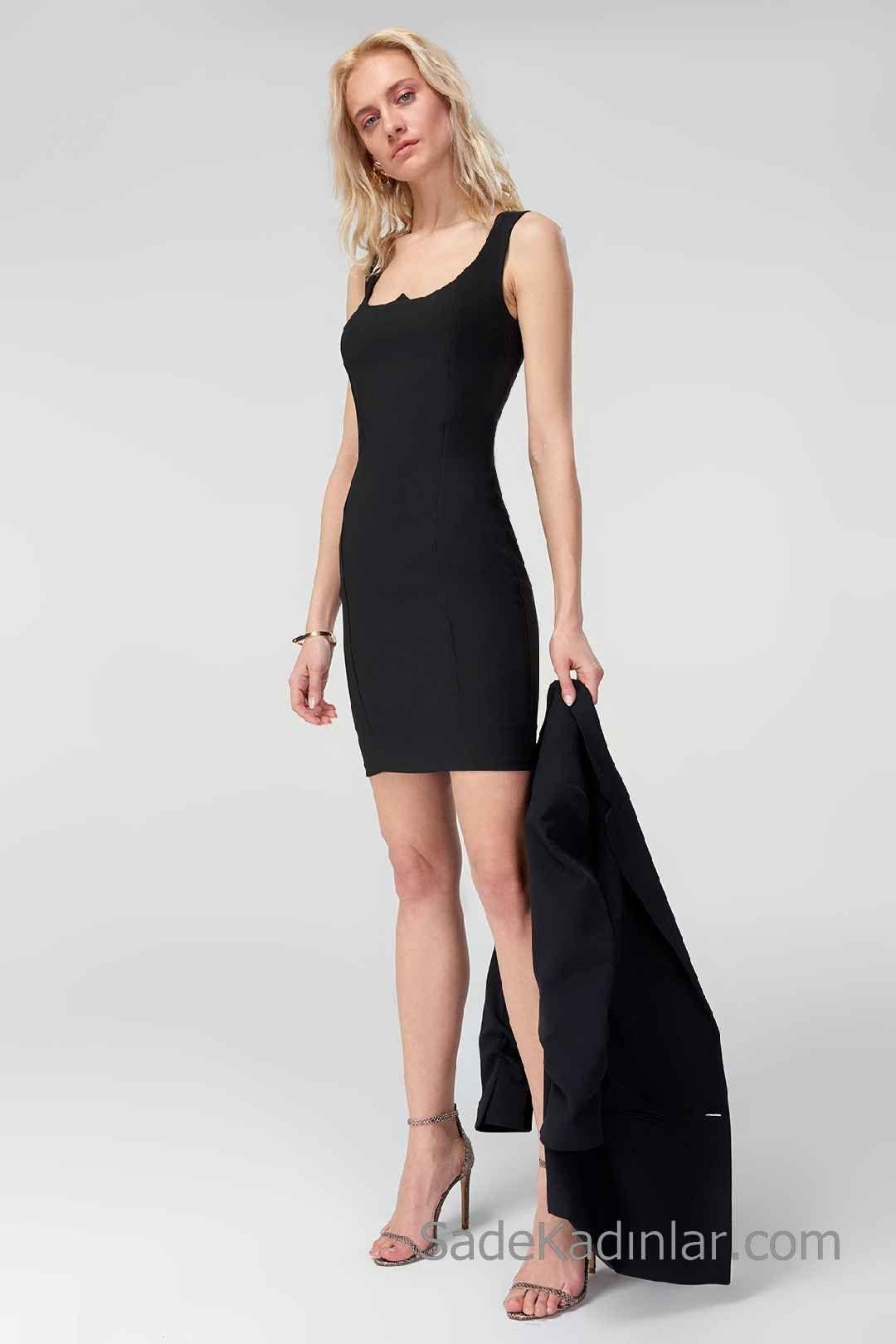 49ccf65097ed7 2020 Siyah Kısa Abiye Elbise Modelleri Kalın Askılı Geniş Yakalı ...