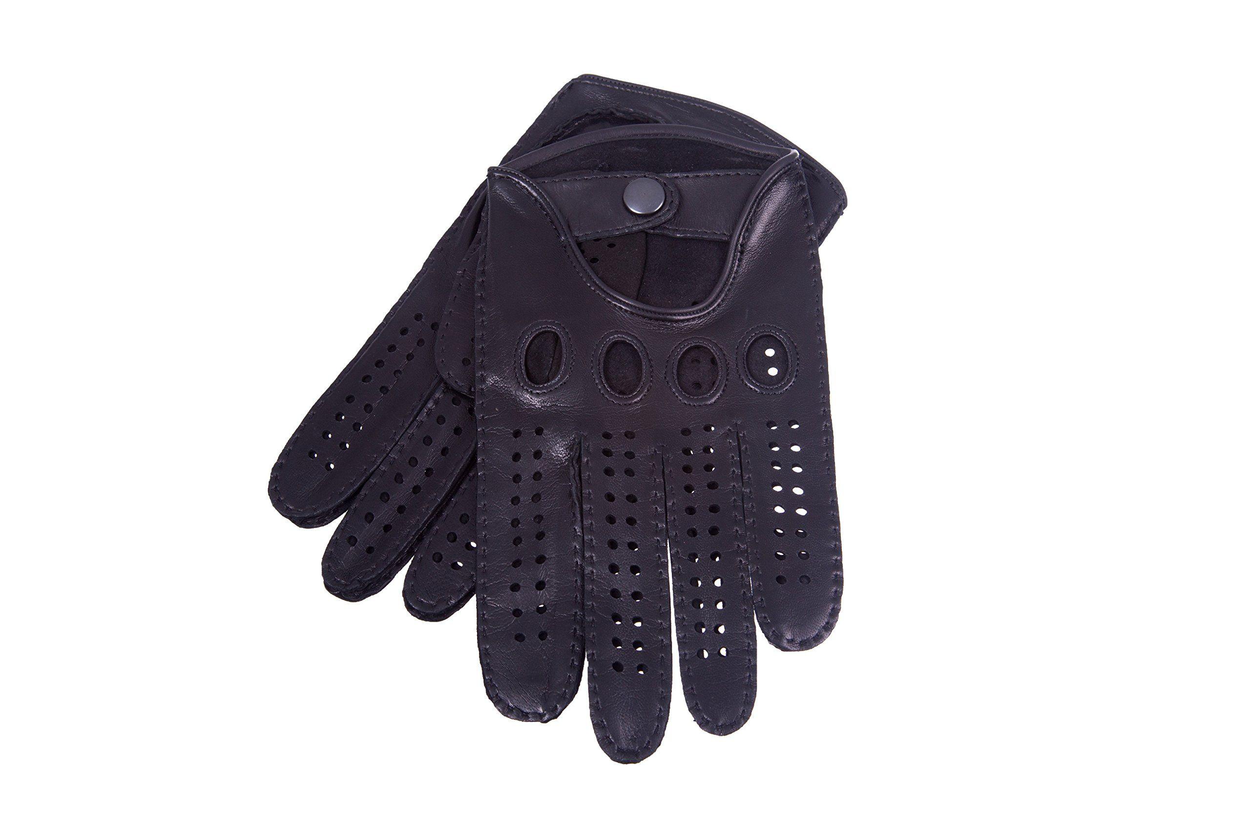 Leather driving gloves mercedes - Men S Handsewn Driving Gloves Nappa Leather Black 8 Black