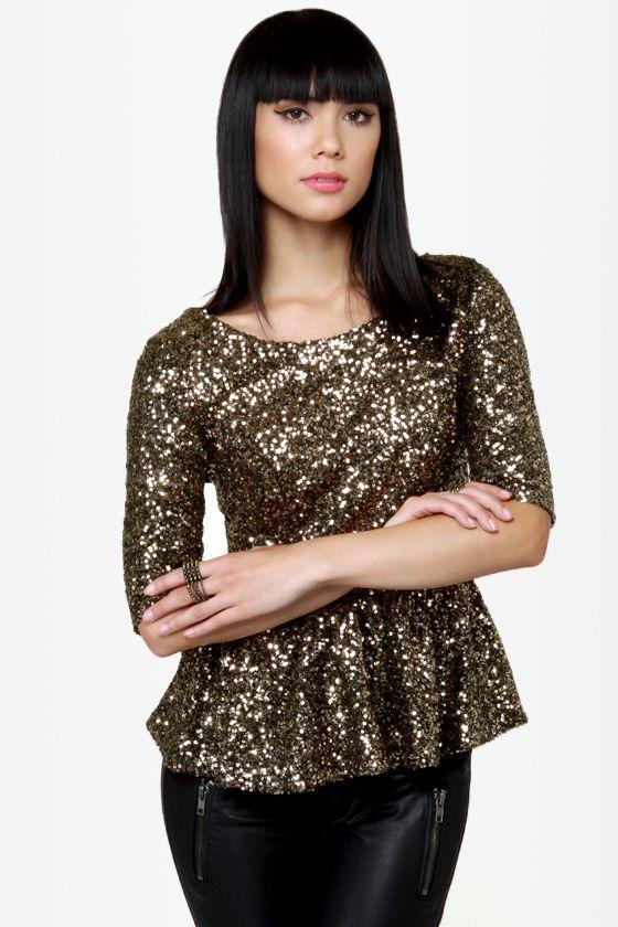 e6415cfc643c8c Dressy Sequin Top - Gold Top - Peplum Top - Backless Top -  56.00