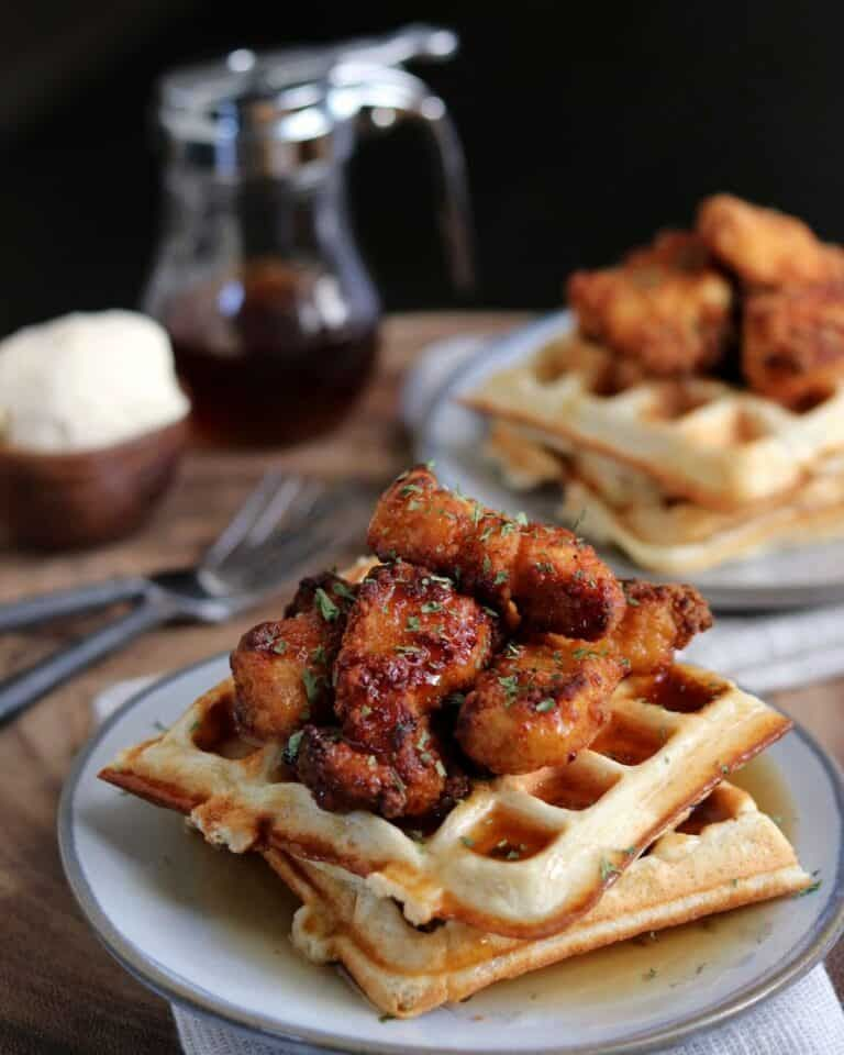 20minute 4ingredient chicken and protein waffles in