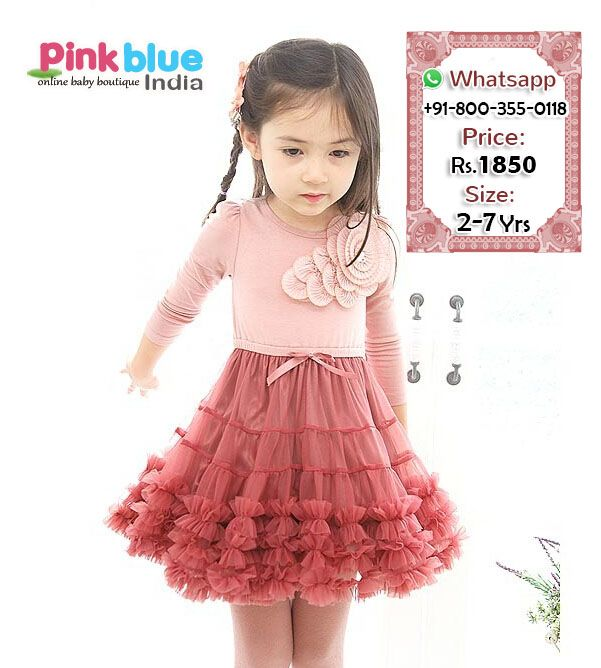 Shop Online Exquisite Peach and Maroon Special Occasion Ruffle Dress ...