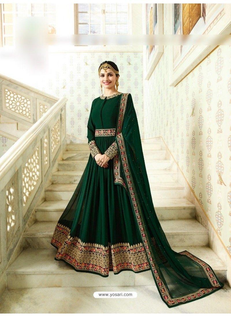 ... Party Wear Gown. Green Silk Georgette Floor Length Suit 6706c0027