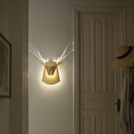 Wall Lights In Hallway : Gold Aluminium Deer Head LED Wall Light by Popup Lighting. Hallway lighting. light Pinterest ...
