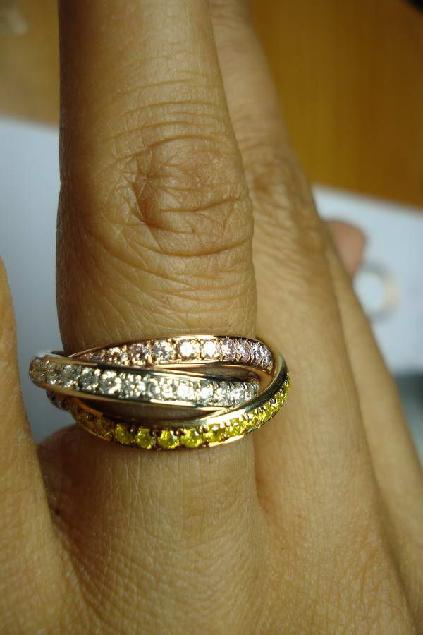Diamond Wedding Band Tri Color 14k Gold