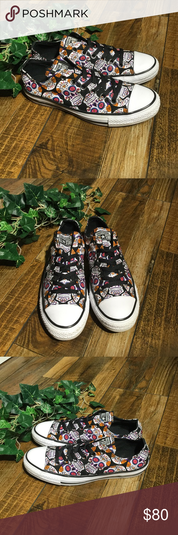 ffcd51cd7c Converse Sugar Skull Sneakers Day of the Dead Sugar Skulls Print   Woman s  8.5   men s