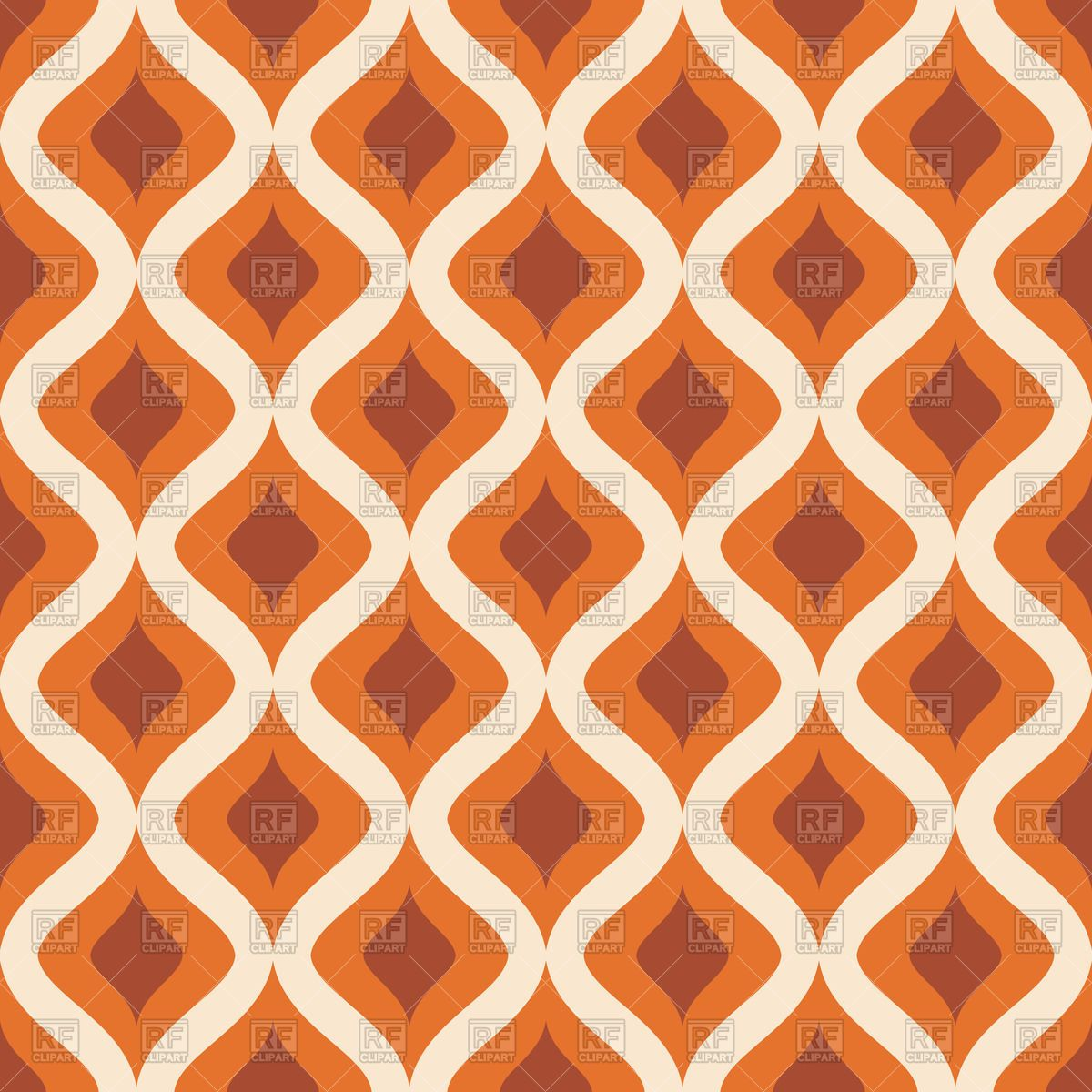 Vertical Wavy Ornament Orange Brown Retro Wallpaper Vector