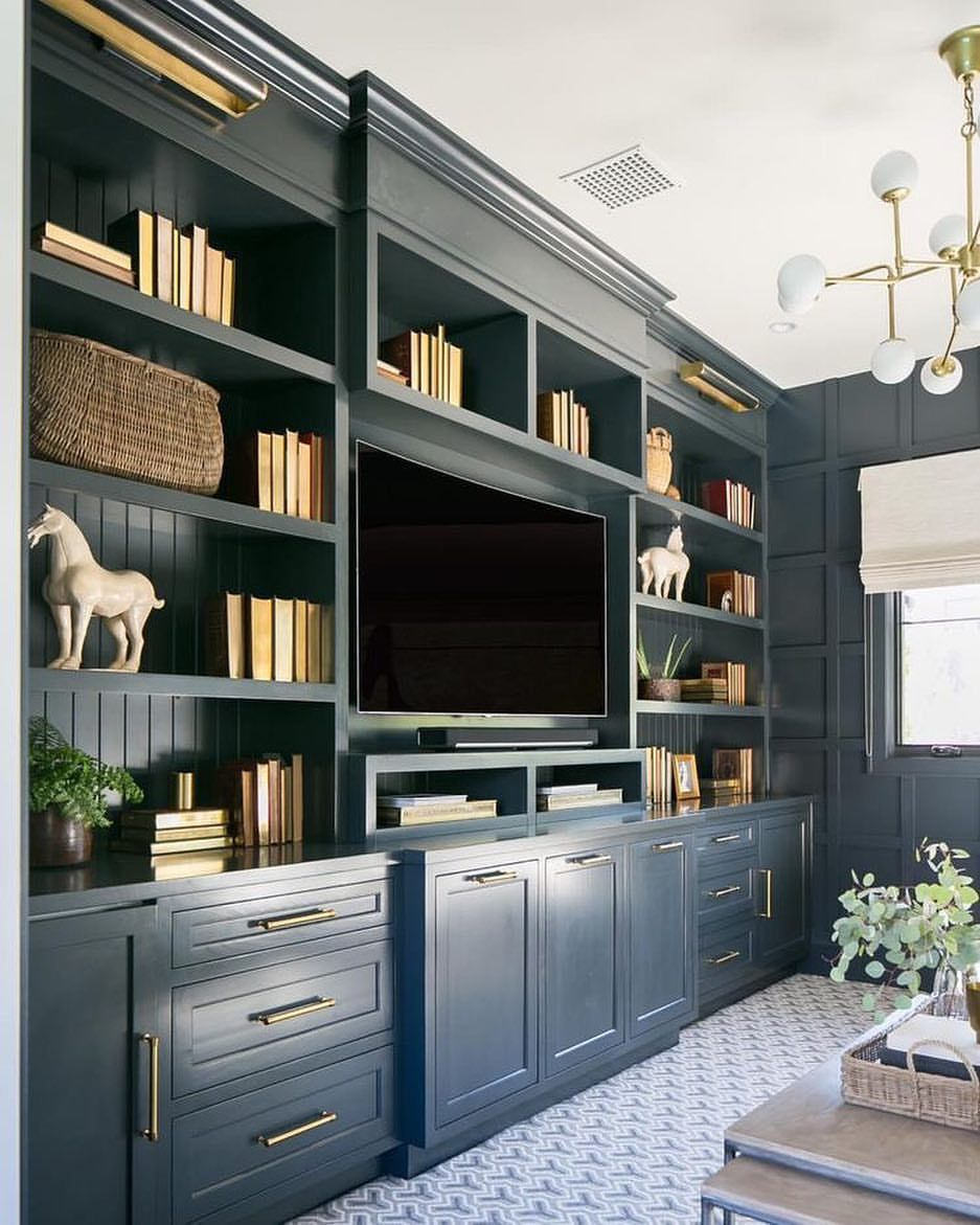 Loving all the details of these built ins color spacing lights it    helping  friend add to her space also home reveal my man pinterest office design rh