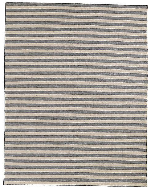 Hand Knotted Awning Stripe Flatweave Outdoor Rug Restoration